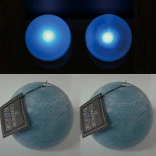 2 Lampes perles et bougies boule bleues