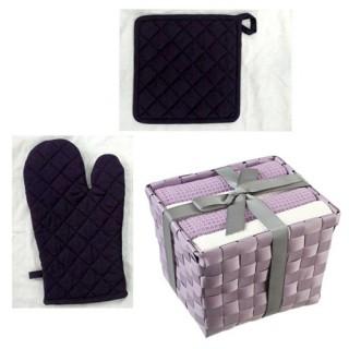 Gant et manique avec Panier 4 torchons - Violet