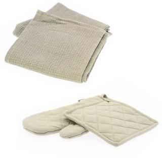 Gant et manique lin avec 2 torchons nid d'abeille - Lin