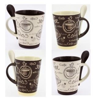 4 Mugs avec cuillère - Base en silicone - Beige et chocolat