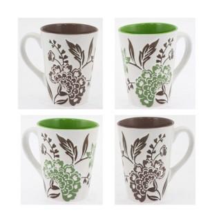 Ensemble de 4 mugs à fleurs - Faïence - Taupe et vert