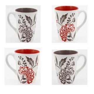 Ensemble de 4 mugs à fleurs - Faïence - Taupe et rouge