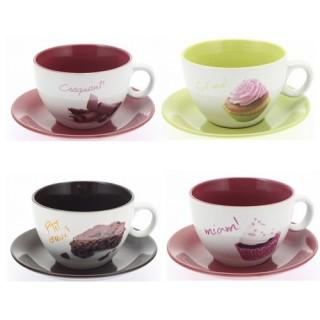 Ensemble de 4 Tasses et soucoupes décorées en céramique