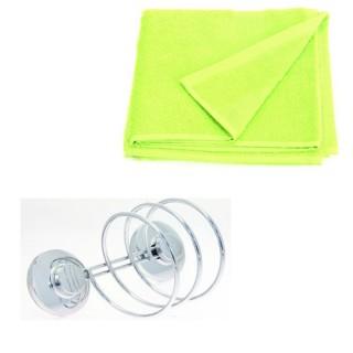 Support pour sèche-cheveux et 2 serviettes de toilette - Vert anis