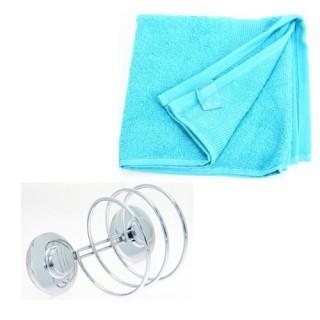 Support pour sèche-cheveux et 2 serviettes de toilette - Turquoise
