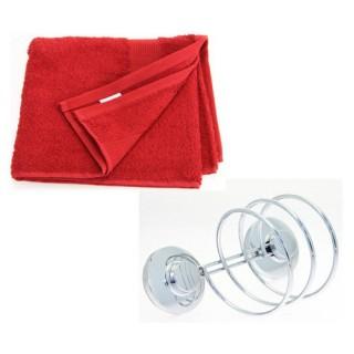 Support pour sèche-cheveux et 2 serviettes de toilette - Rouge