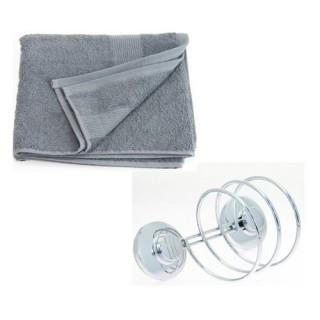 Support pour sèche-cheveux et 2 serviettes de toilette - Gris