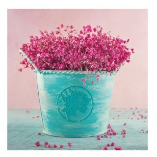 Toile imprimée Fleurs - 16 x 16 cm. - Seau bleu et petites fleurs