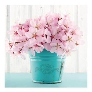 Toile imprimée Fleurs - 16 x 16 cm. - Seau bleu et fleurs roses