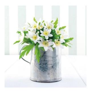 Toile imprimée Fleurs - 16 x 16 cm. - Seau gris et fleurs blanches
