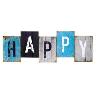 Toile imprimée Happy - 75 x 26 cm. - Happy