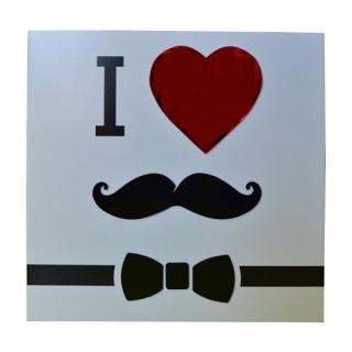 Cadre imprimé Mystery - 24 x 24 cm. - I love moustache