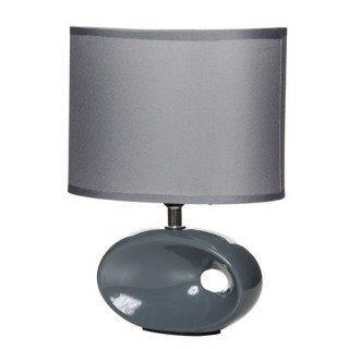 Lampe à pied ovale et ampoule - Céramique - Gris