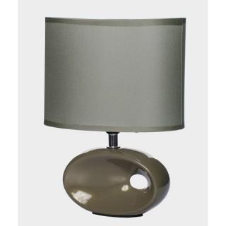 Lampe à pied ovale et ampoule - Céramique - Taupe