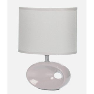 Lampe à pied ovale et ampoule- Céramique - Ivoire