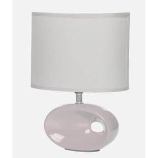 Lampe à pied ovale et ampoule - Céramique - Ivoire
