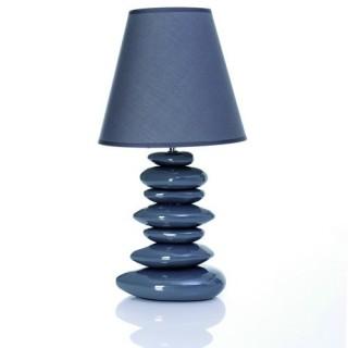 Lampe en céramique 7 Galets et ampoule économie d'énergie - H. 55 cm - Gris
