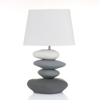Lampe 4 Galets en céramique et ampoule économie d'énergie - H. 63 cm - Gris