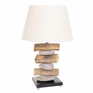 Lampe Bois et pierres et ampoule économie d'énergie - H. 63 cm - Gris