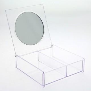Boîte à Maquillage - 2 compartiments et miroir - Transparent