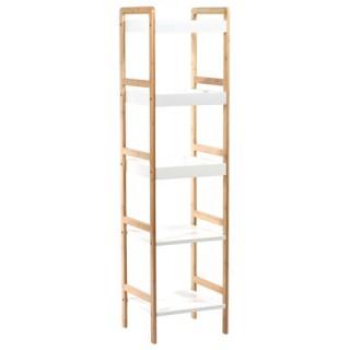 Etagère de Salle de bain 5 Niveaux - Bambou - Blanc