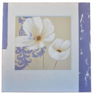 Toile imprimée Pei fleur - L. 60 cm - Fleur blanche