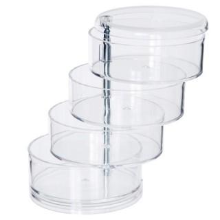 Boîte de rangement - 4 Compartiments pivotants - Transparent