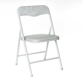 Chaise pliante Enfant - Métal - Gris