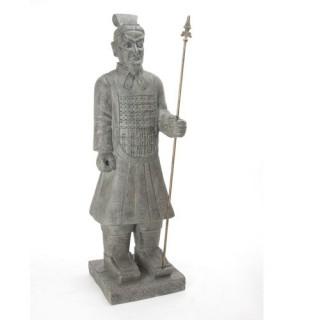 Guerrier Chinois en pierre - H. 120 cm - Gris