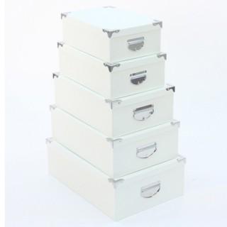6 Boîtes de rangement empilables Croco - Blanc