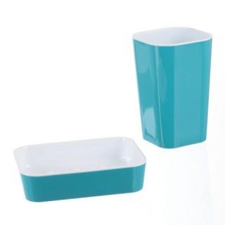Porte savon et gobelet de salle de bain Pastel - Turquoise