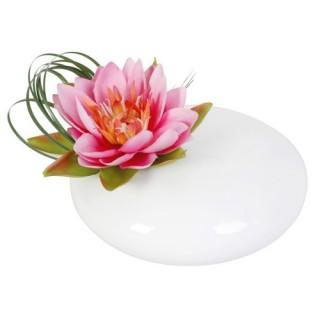 Composition de fleurs artificielles Lotus - Vase céramique - Rose