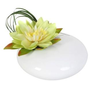 Composition de fleurs artificielles Lotus - Vase céramique - Vert