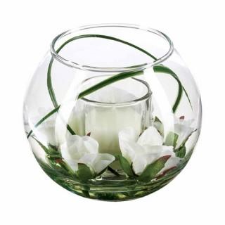 Composition de fleurs artificielles Vase - Verre - Rose blanche