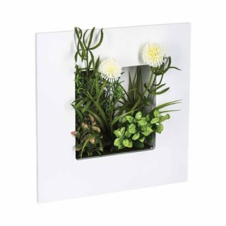 Composition de fleurs artificielles sur cadre - H. 30 cm - Bois