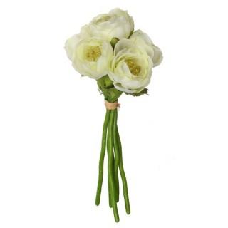 Fleurs artificielles Bouquet 6 Renoncules - H. 25 cm - Blanc