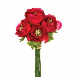 Fleurs artificielles Bouquet 6 Renoncules - H. 25 cm - Rose