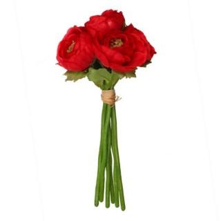 Fleurs artificielles Bouquet 6 Renoncules - H. 25 cm - Rouge