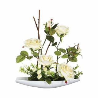 Composition de fleurs artificielles Roses - H. 36,5 cm - Coupelle céramique