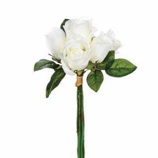 Bouquet 7 Roses artificielles blanches - H. 30 cm