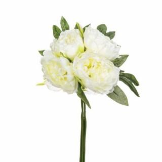 Bouquet 4 Pivoines artificielles blanches - H. 30 cm