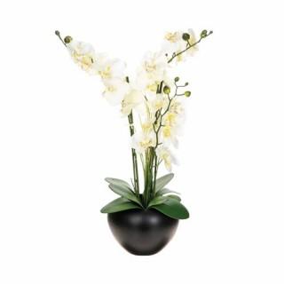 Composition de fleurs artificielles Orchidée - H. 63 cm - Vase en céramique