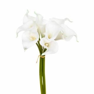 Bouquet 8 Arums artificiels - H. 36 cm - Blanc