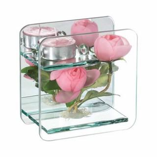 Composition de fleurs artificielles Renoncules - Carré - Rose