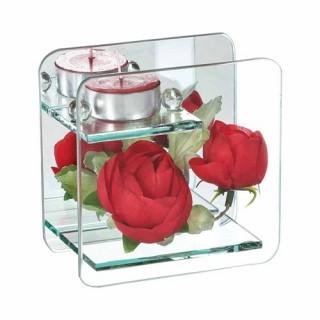 Composition de fleurs artificielles Renoncules - Carré - Rouge