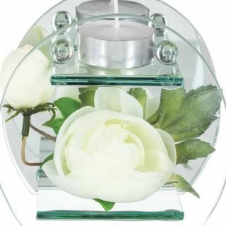 Composition de fleurs artificielles Renoncules - Rond - Blanc