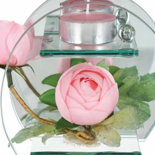 Composition de fleurs artificielles Renoncules - Rond - Rose