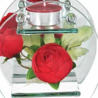 Composition de fleurs artificielles Renoncules - Rond - Rouge