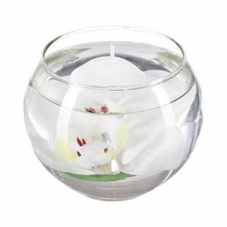 Composition florale Bougie flottante - Orchidée blanche