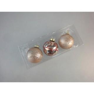 3 Boules de Noël Verre - Diam. 60 mm - Or